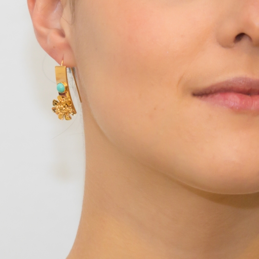 Boucles d'oreilles Fleurs turquoise