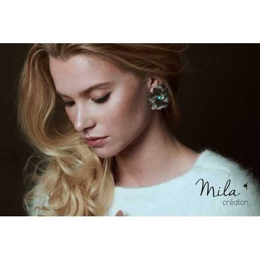 Boucles d'oreilles Eva 4 argentées