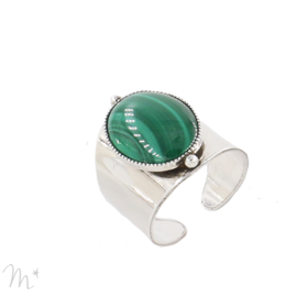 Bague Katy Argentée Malachite