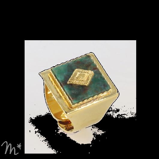 Bague Marion Jaspe Vert dorée