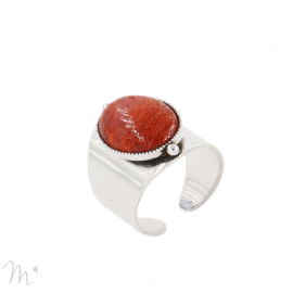 Bague Katy argentée corail