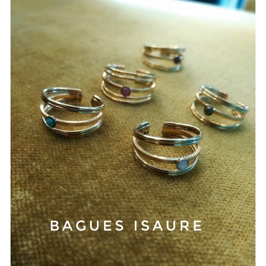 Bague Isaure dorée Amazonite