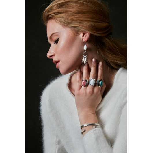 Boucles d'oreilles EMA 19 Agate Blanche argentées