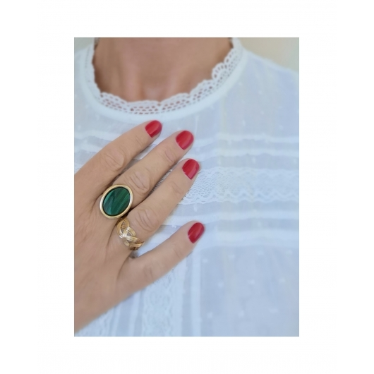 Bague Madeleine malachite