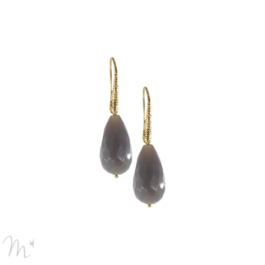 Boucles d'oreilles Chloé agate grise
