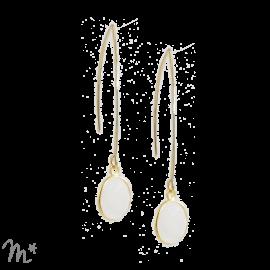 Boucles d'oreilles Mathilde pierre de lune blanche