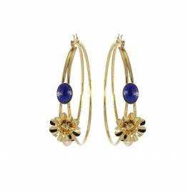 Boucles d'oreilles créoles Fleurs Lapis lazuli